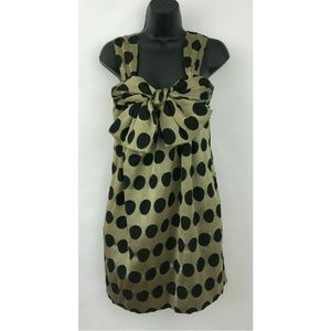 French Connection Gold Black Polka Dot Party Dress